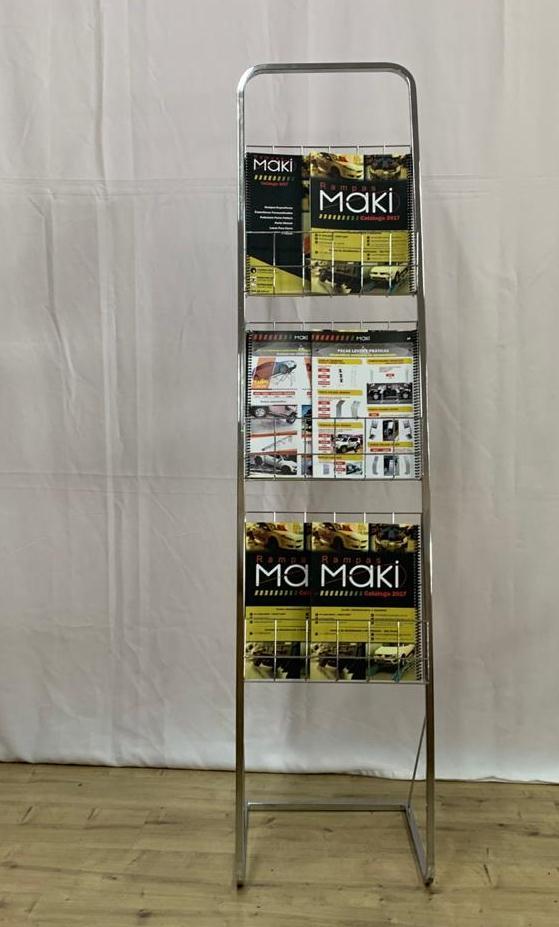 Display Cromado com Prateleiras Revisteiro Porta folder 3 Andares - Maki