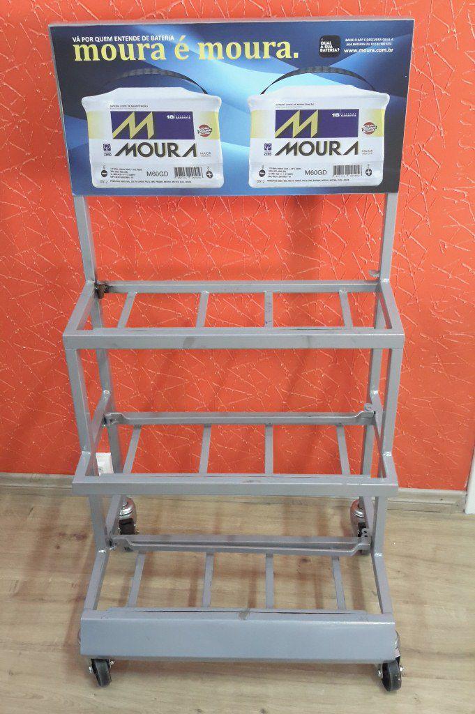Expositor Para Baterias Capacidade 6 Baterias com 3 Prateleiras - Maki