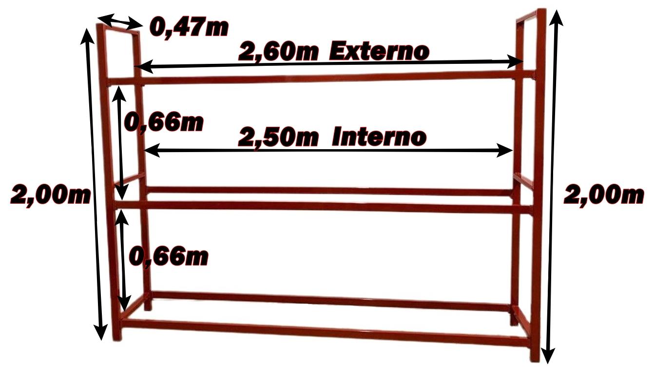 Expositor Pneus em Tubo de Aço Retangular 3 Andares - Modelo 05 - Maki