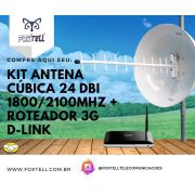 KIT ANTENA CÚBICA 24 dBi 1800/2100 + ROTEADOR 3G D-link DWR 512