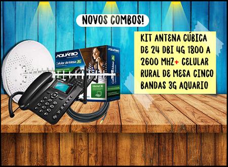 ANTENA 15 DBI + CABO DE 10 + TELEFONE DE MESA 3G