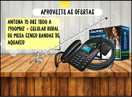 Antena 15 Dbi + Cabo De 10 + Telefone De Mesa