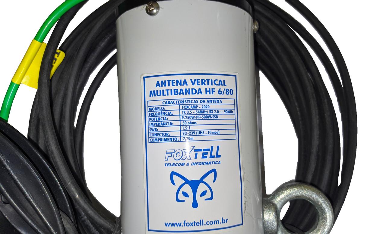 ANTENA MULTIBANDA PRÁTICA PREMIUM HF 6 / 80 MT- SEM ACOPLADOR 500W.