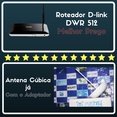 Kit Antena Cúbica de 24 Dbi 1800 a 2100 / Roteador 3G D-link DWR 512