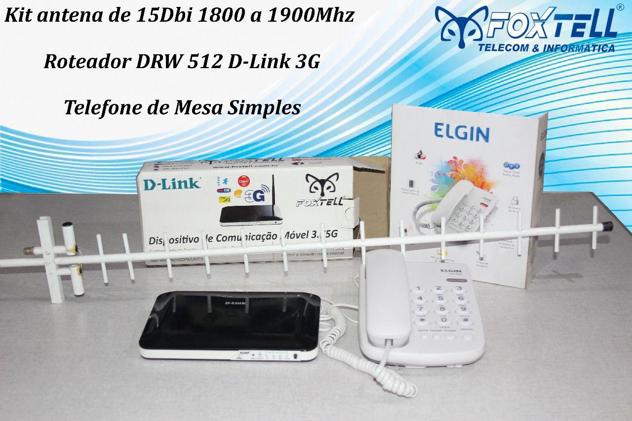 KIT ANTENA 15 dBi - 1800/1900 + Roteador 3G + Telefone de mesa