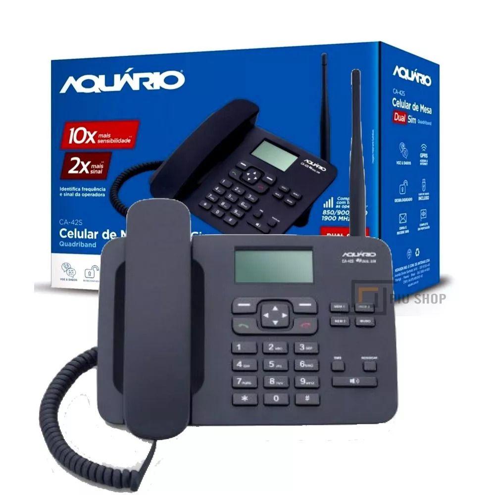 TELEFONE RURAL AQUÁRIO CA42S CELULAR DE MESA COM 2 CHIP SIM