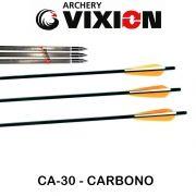 Flecha Vixion 30'' Carbono Especial Preta CA-30 tubo 7.5mm (kit 3 pçs) Ponta Rosca