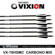 Flecha Vixion 30'' Carbono VX-78HSMC  2B1W Spine 600 - 8mm / 32g (Kit 6 Pçs) Ponta Rosca