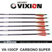Flecha Vixion 30'' Carbono Super VX-100CP  2R1G Spine 350 - 7.5mm / 24g (Kit 6 Pçs) Ponta Rosca
