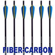 Setas FiberUltra Vixion 20'' Velocity XT 8mm Fibra de Vidro + Carbono Balestras 120 a 200 lbs (Kit 6 pcs) Ponta Rosca