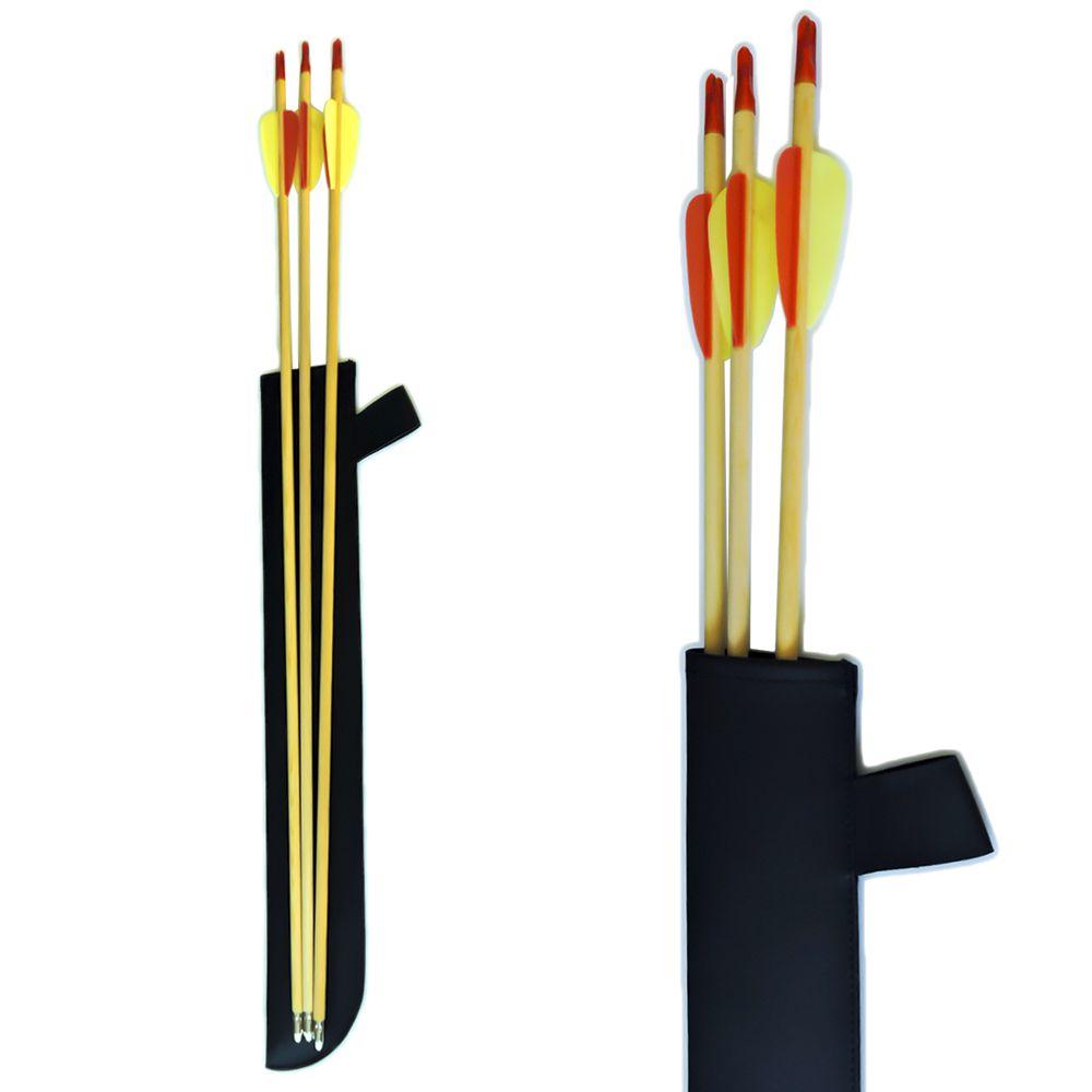 Aljava de cintura Vixion AS-3M preta simples para Arco + 3 Flechas Madeira
