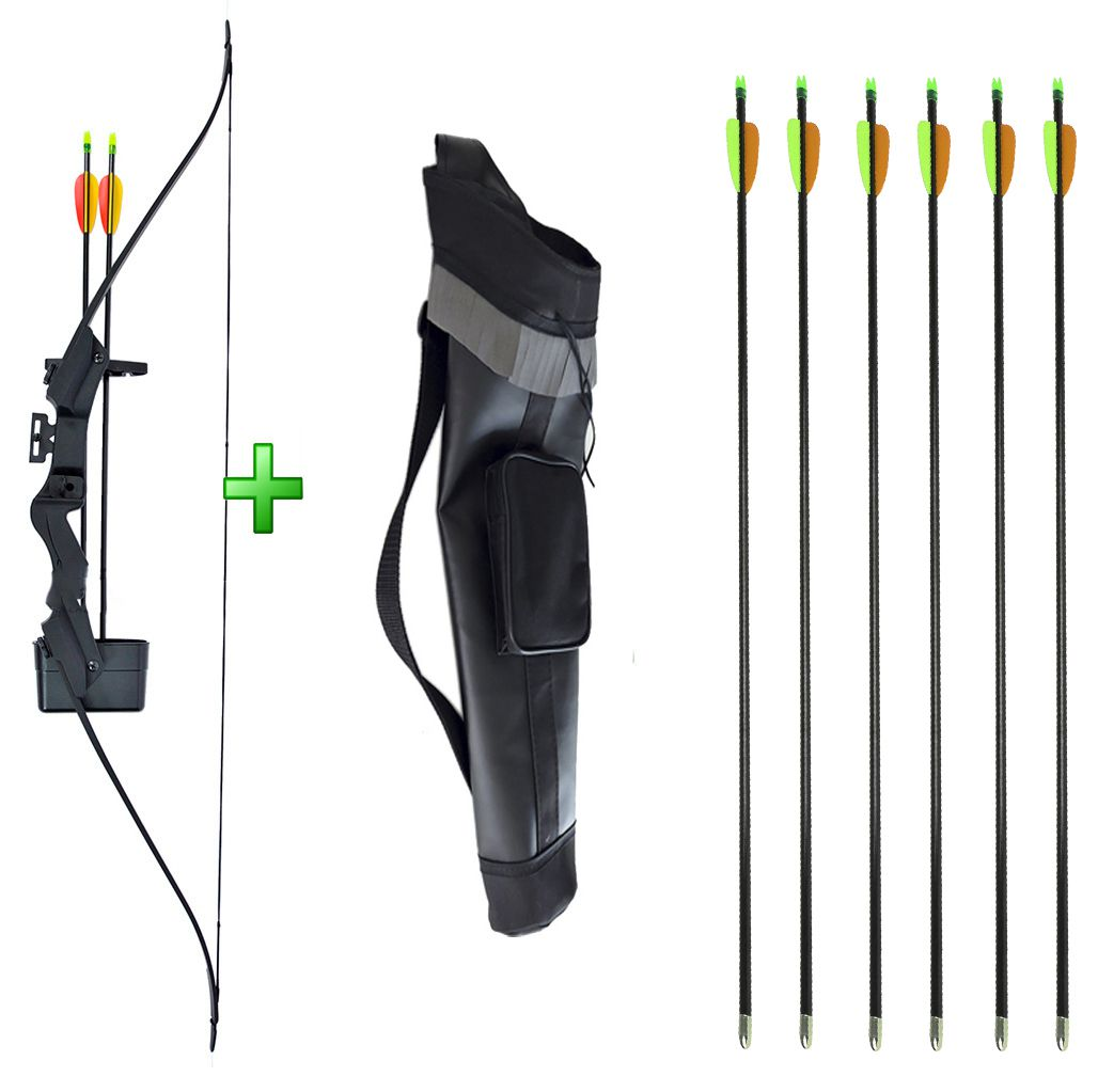 Kit Arco Alligator 21 Lbs Bk + 06 Flechas Fa28 + Aljava Costas AC-BP