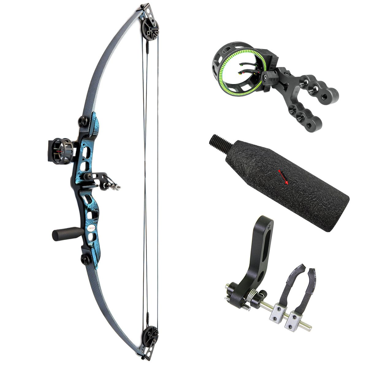Arco e flecha Catfish Vixion kit plus Composto + Mira MK-Sight + Rest B10002K + Estabilizador EST1
