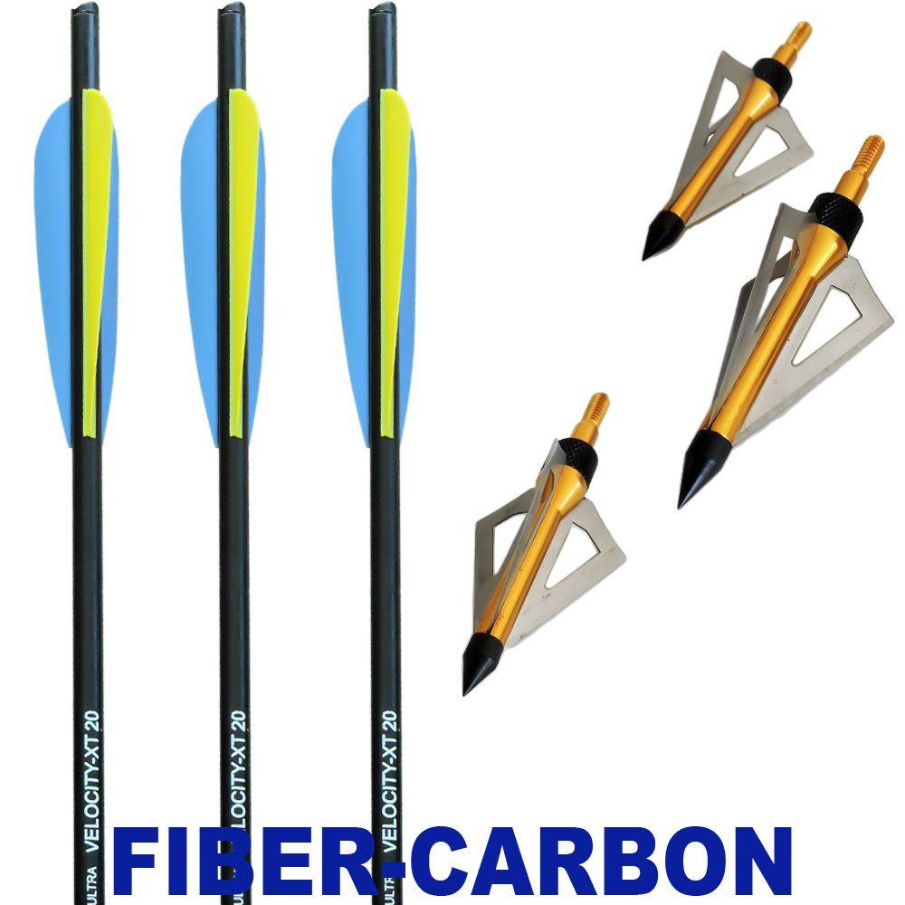 Combo 3 Setas Velocity Xt Fibercarbon + 3 Pontas Caça B11