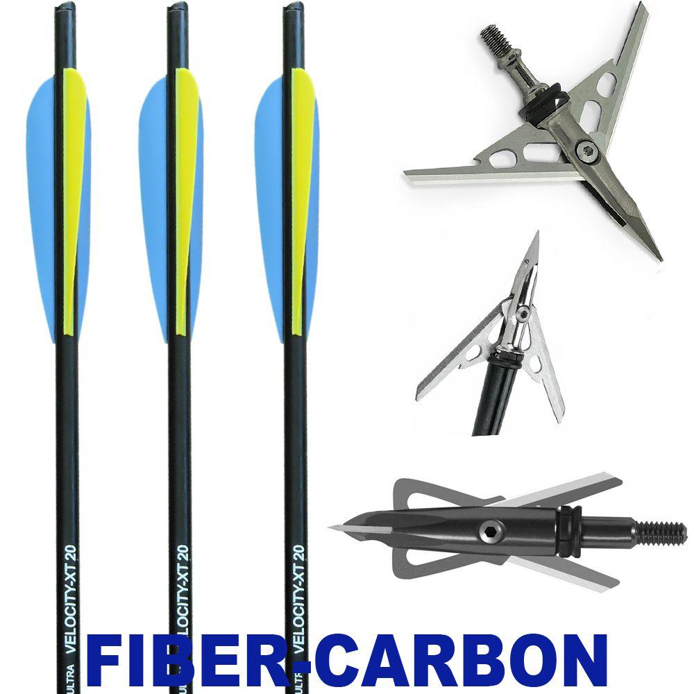 Combo 3 Setas Velocity Xt Fibercarbon + 3 Pontas Caça B12