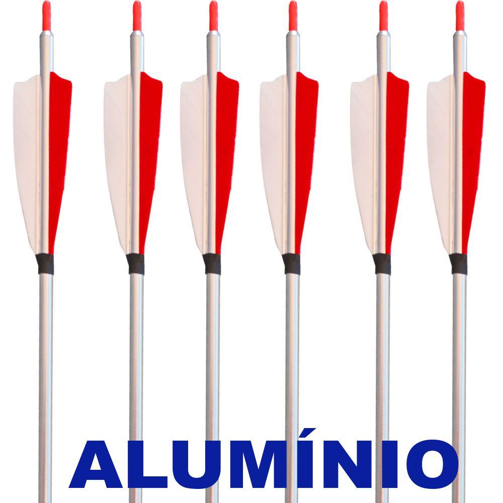Flecha Alumínio Vixion 30'' Advantage 30 7.8mm (kit 6 pçs) Ponta Rosca com Penas Peru Naturais