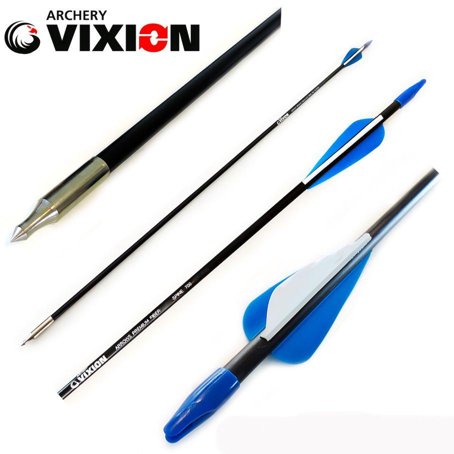 "Flecha FiberUltra Vixion 30"" Máxima Pro Composta de Fiberglass + Carbono (Kit 6 Pçs) Ponta Fixa"