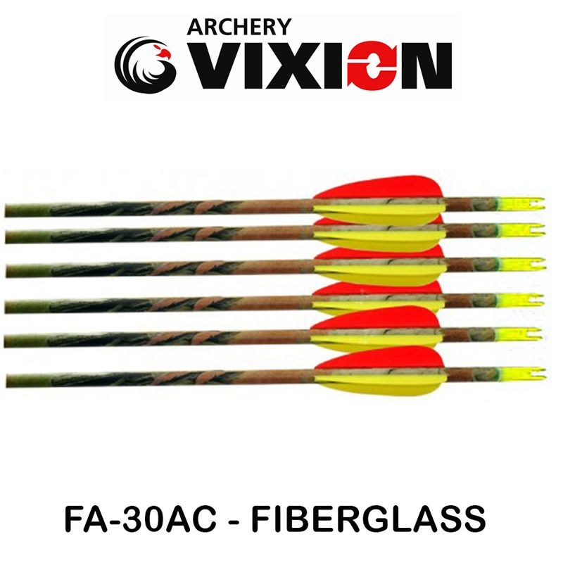 Flecha Fiberglass Vixion 30'' FA-30AC Especial Camuflada 6.9mm (kit 6 Pçs) Ponta Fixa
