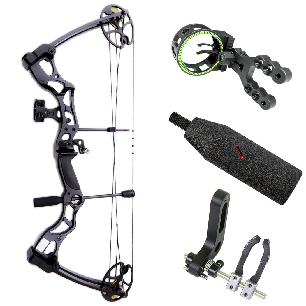 Arco e flecha Leopard MK-CB75B Kit Plus + Mira MK-Sight + Rest B10002K + Estabilizador EST1