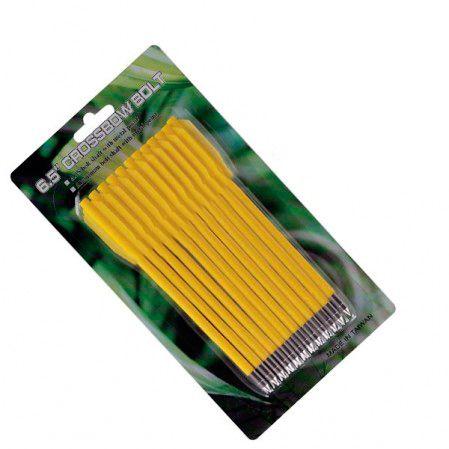 """Setas Vixion 6.5"""" Nylon Yellow 3.5mm para balestras 50 a 80 lbs (kit 12 pçs) Ponta Fixa"""
