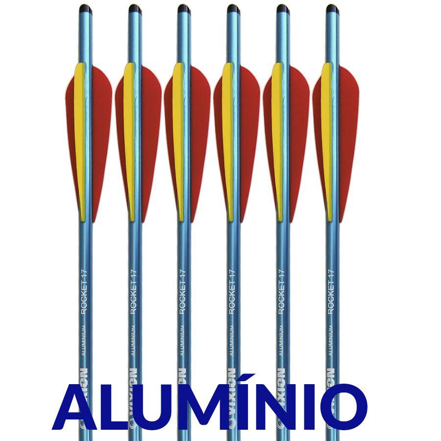 Setas Alumínio Vixion 17'' Rocket 8mm Para Balestras 120 a 200 lbs (kit 6 pçs) Ponta Rosca