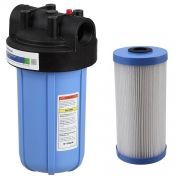 """Filtro Big Blue 10"""" Alta Vazão C/ refil lavável, suporte, parafusos e chave"""