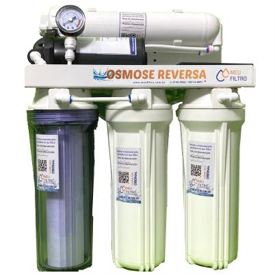 Osmose Reversa - 4 etapas/100GPD - Com bomba / Manômetro