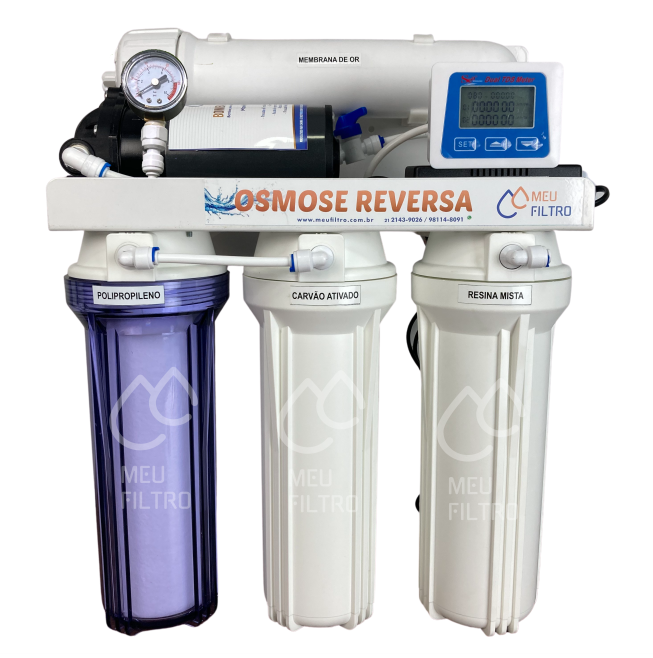 Osmose Reversa - 4 etapas/100GPD - Com bomba / Manômetro / TDS