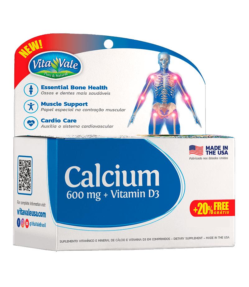 Calcium 600mg + Vitamina D3 Vita Vale com 144 Comprimidos