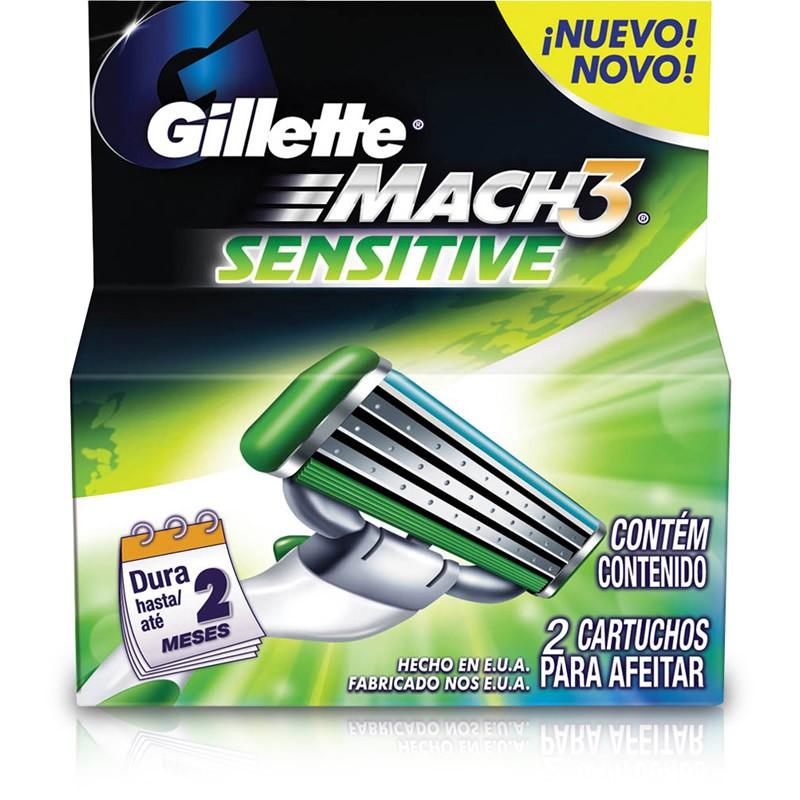 Carga Gillette Mach 3 Sensitive com 2 unidades