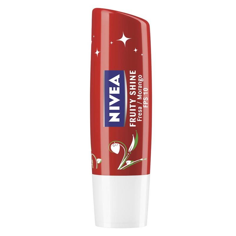 Lip Care Hidratante Labial Nivea Fruity Shine Morango com 4,8g