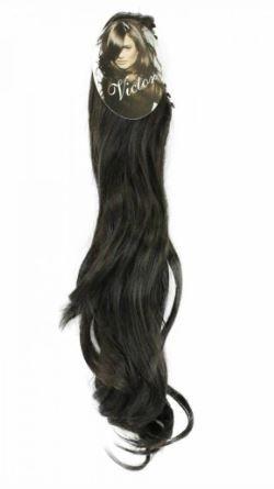 Aplique de cabelo orgânico ondulado na piranha