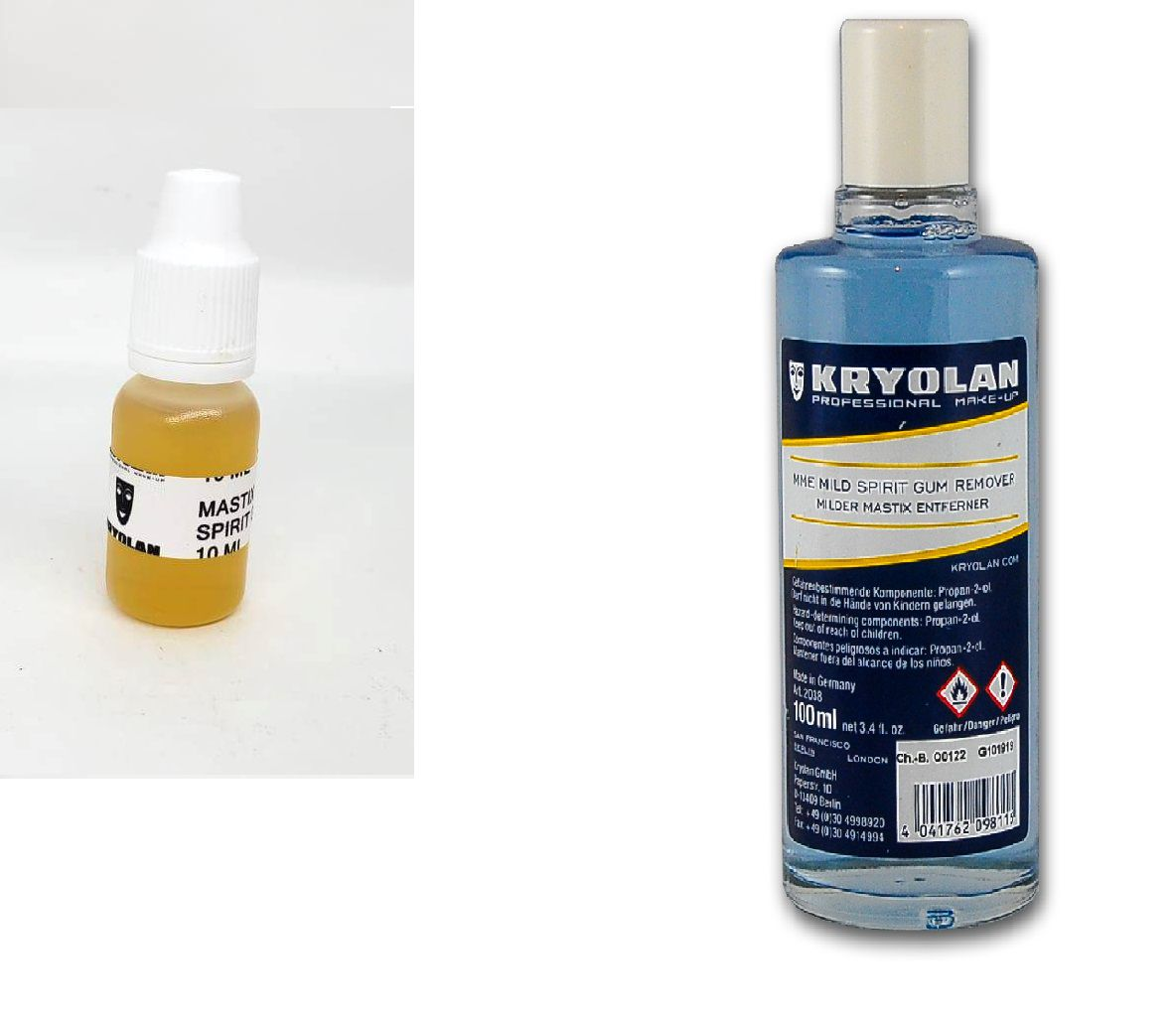 Cola Spirit Gum verniz 10ml + removedor kryolan 100 ml