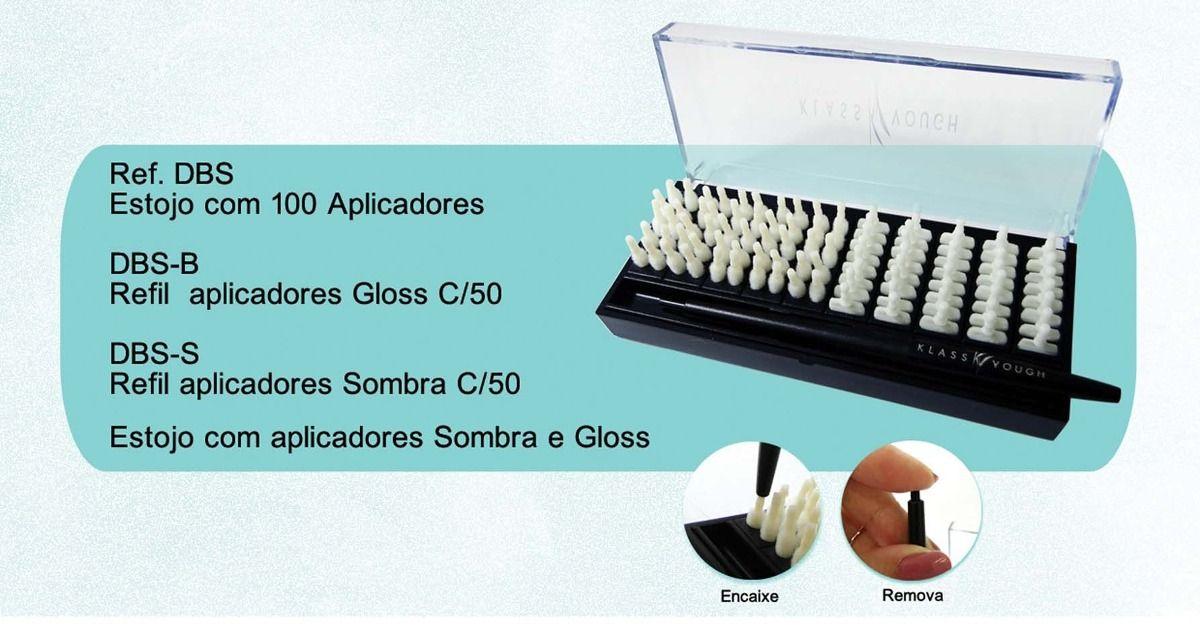 Estojo c/ 100 aplicadores de gloss e sombra Klass vough