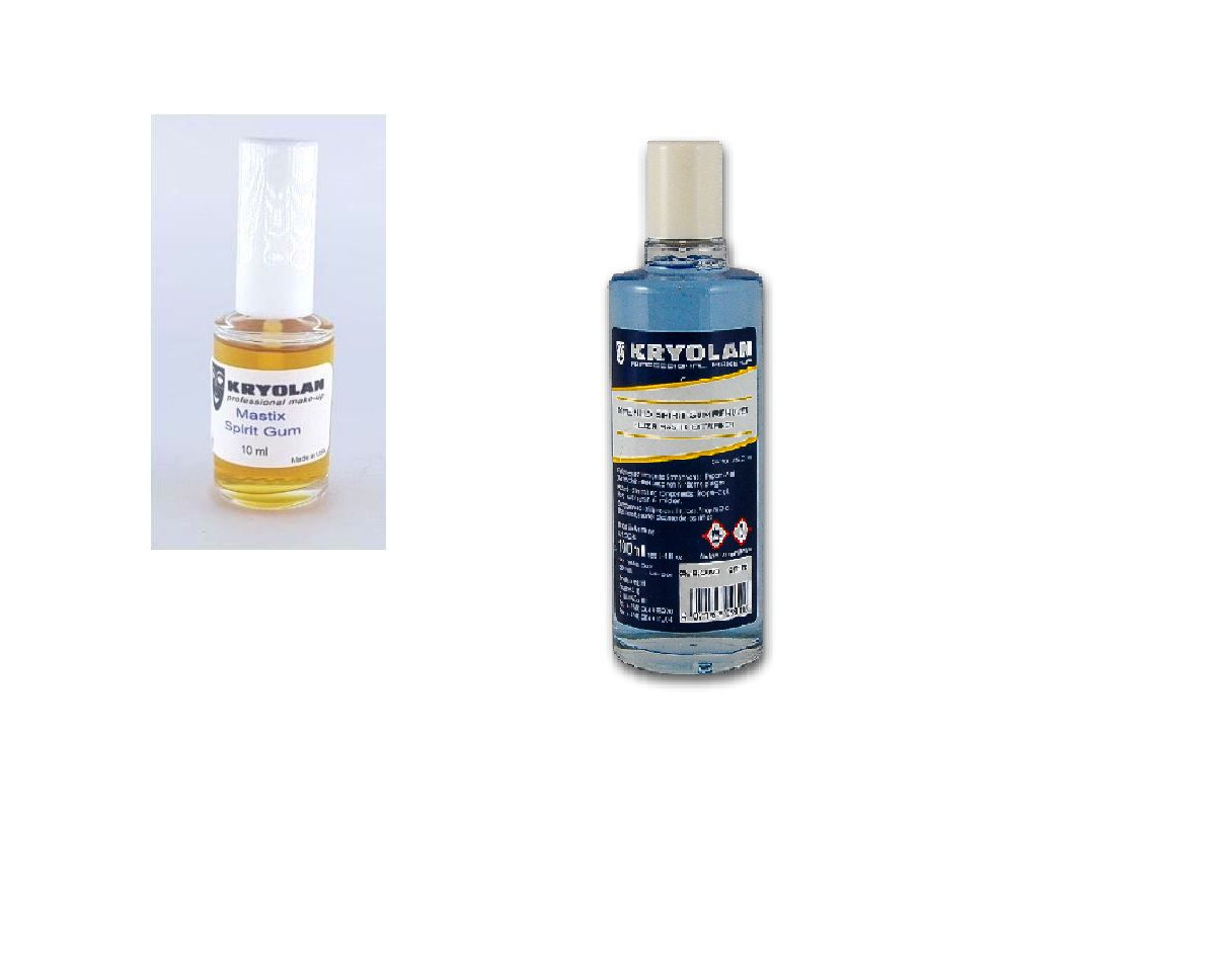 Kit Cola Spirit Gum verniz 10ml + removedor kryolan 100 ml