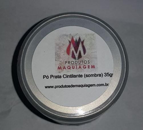 Pó de Maquiagem Prata Cintilante super pigmentado (sombra) 35gr