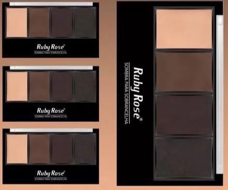Trio de sombras para Sobrancelha Ruby Rose Com Primer E Pincel