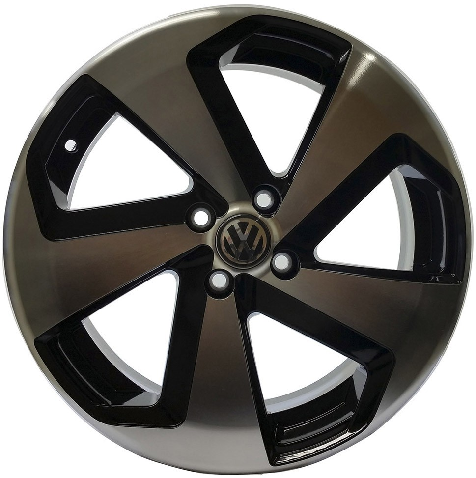 Jogo 4 rodas Zunky ZK-650 Golf GTI aro 15 4 x 100 diamante preto tala 6 ET 38