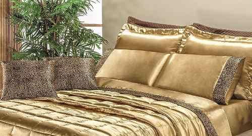 Coordenado Kit Cobre Leito + Jogo De Lençol King Safari - Dourado