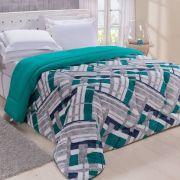 Coberdrom Dupla Face Solteiro Guilherme 01 Peça - Mosaico Verde