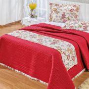 Cobre Leito 140 Fios Super King Gladis 4 Pcs - Floral Vermelho