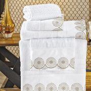 Jogo de Banho com Barrado Bordado Fascínio 05 Peças - Branco