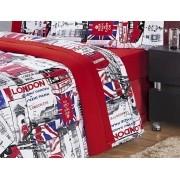 Jogo de Cama Lençol Estampado 150 Fios Solteiro London 03 Peças - Vermelho