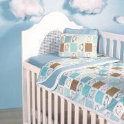 Jogo De Lençol Para Berço Ovelinhas Azul Vivaldi Baby 03 Peças -  Azul