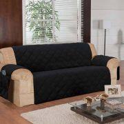 Protetor de Sofá Face Única Confort Home 3 Lugares - Preto
