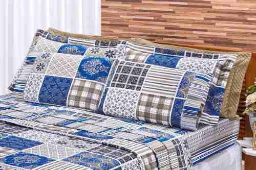 Kit Cobre Leito 180 Fios Solteiro Requinte 02 Peças - Azul