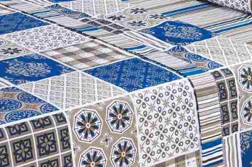 Jogo De Cama King Requinte 04 Peças - Azul