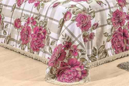 Cobre Leito Solteiro  La Bella 02 Peças - Floral Pink