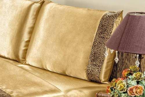Jogo De Cama Lençol Cetim Queen Safari 04 Peças - Dourado