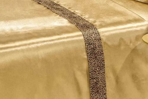 Jogo De Cama Lençol Cetim King Safari 4 Peças - Dourado